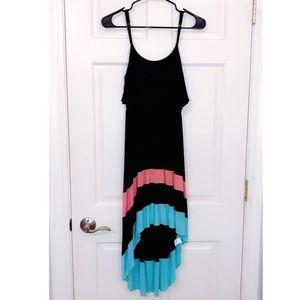 Moa Moa High Low Striped Maxi Dress